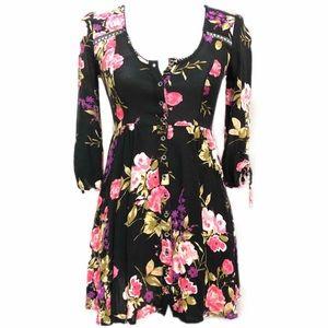Ecote Anthropologie black floral Mini Dress XS